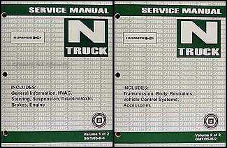 2005 Hummer H2 Repair Manual 2 Volume Set Original