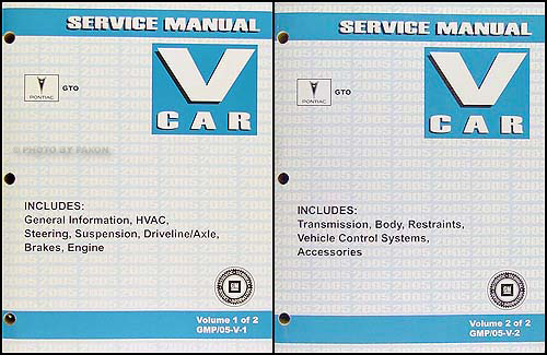 2005 Pontiac GTO Repair Manual Original 2 Volume Set
