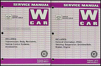 2005 Chevy Impala Monte Carlo Shop Manual Original 2 Vol.Set