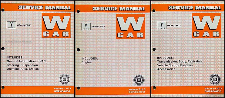 2005 Pontiac Grand Prix Repair Manual Original 3 Volume Set