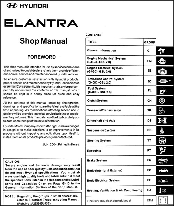 2005 Hyundai Elantra Repair Shop Manual Factory Reprint