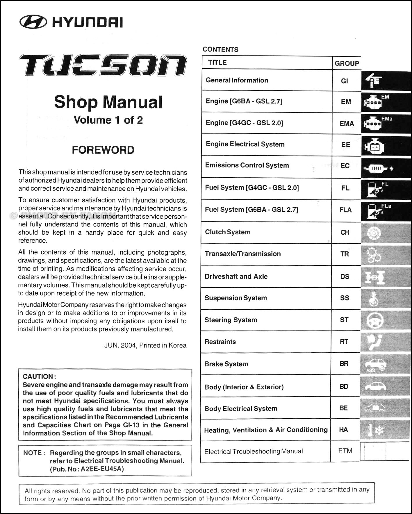 2005 Hyundai Tucson Repair Manual 2 Volume Set Original · Table of Contents