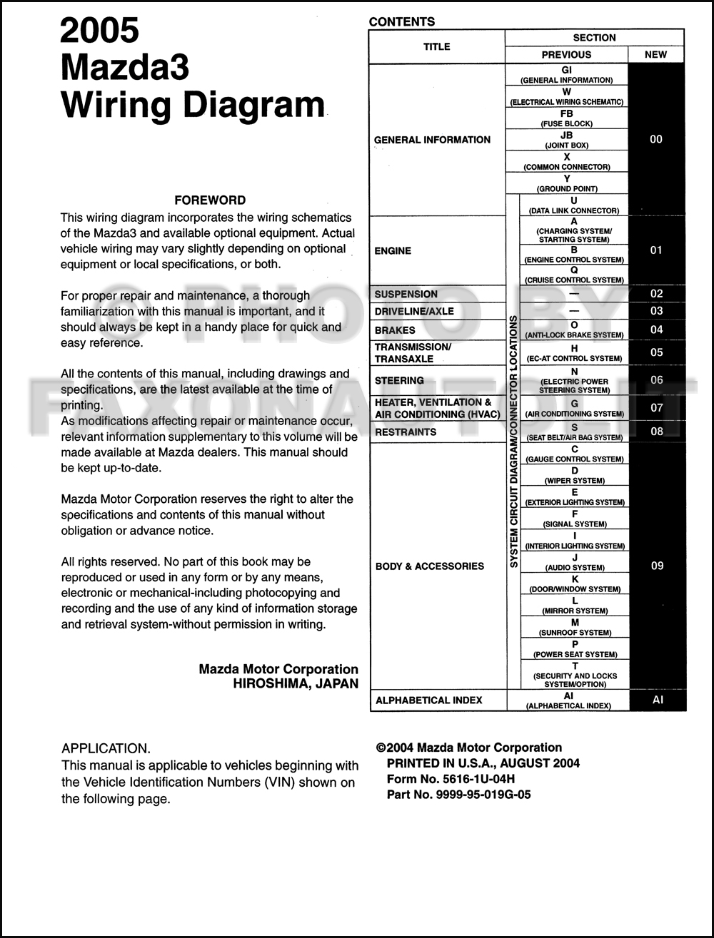 2005 Mazda 3 Wiring Diagram Manual Original