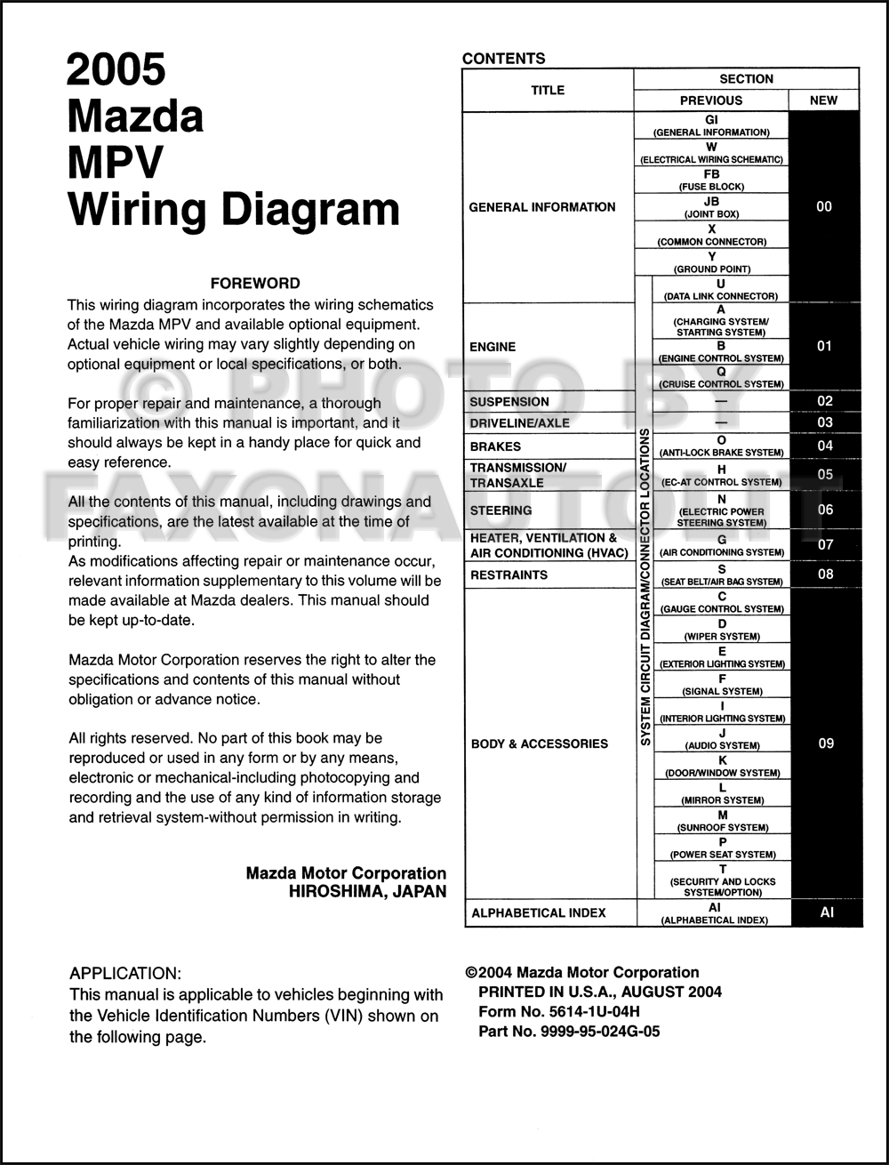 2005 mazda mpv wiring diagram manual original rh faxonautoliterature com mazda  mpv engine diagram mazda mpv fuse diagram