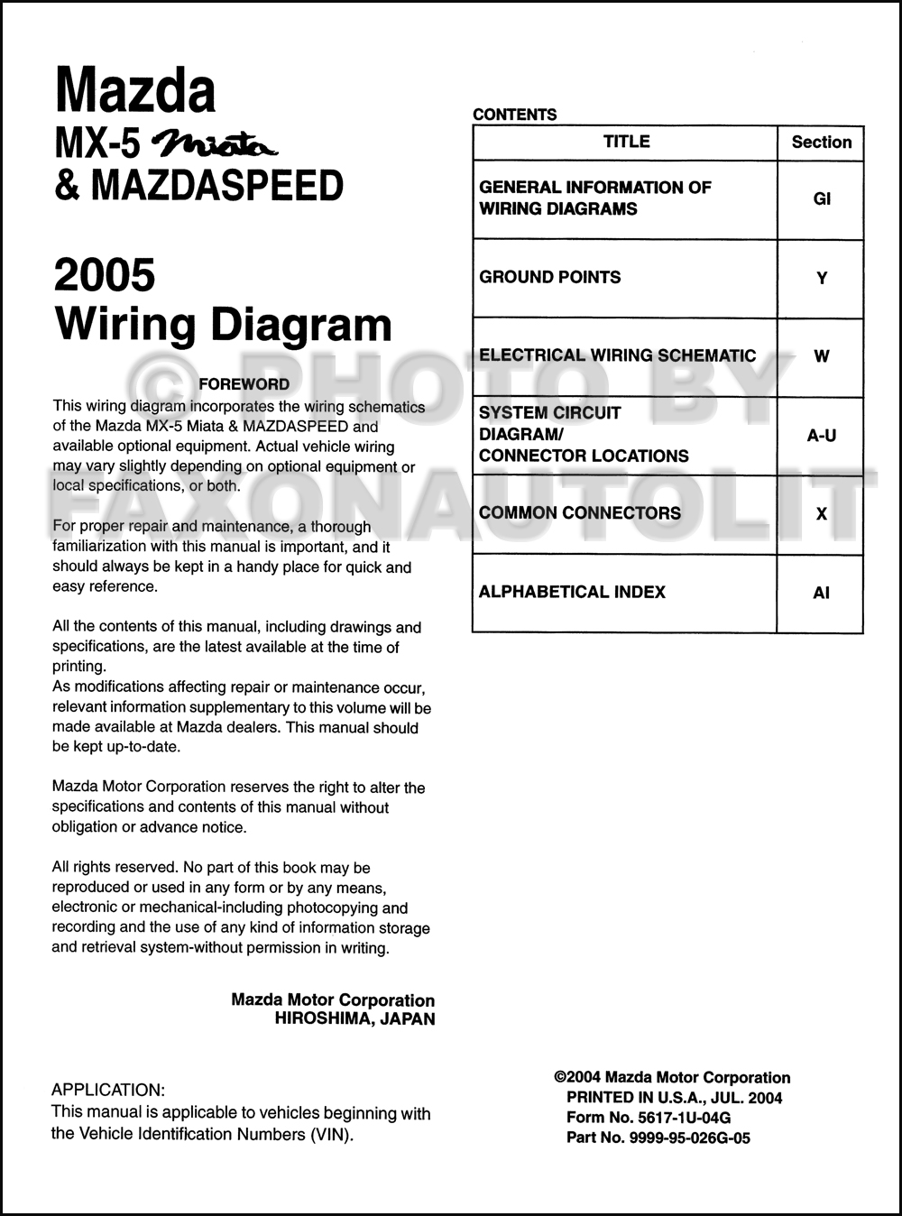 Stupendous 2005 Mazda Mx 5 Miata Mazdaspeed Wiring Diagram Manual Original Wiring Digital Resources Remcakbiperorg