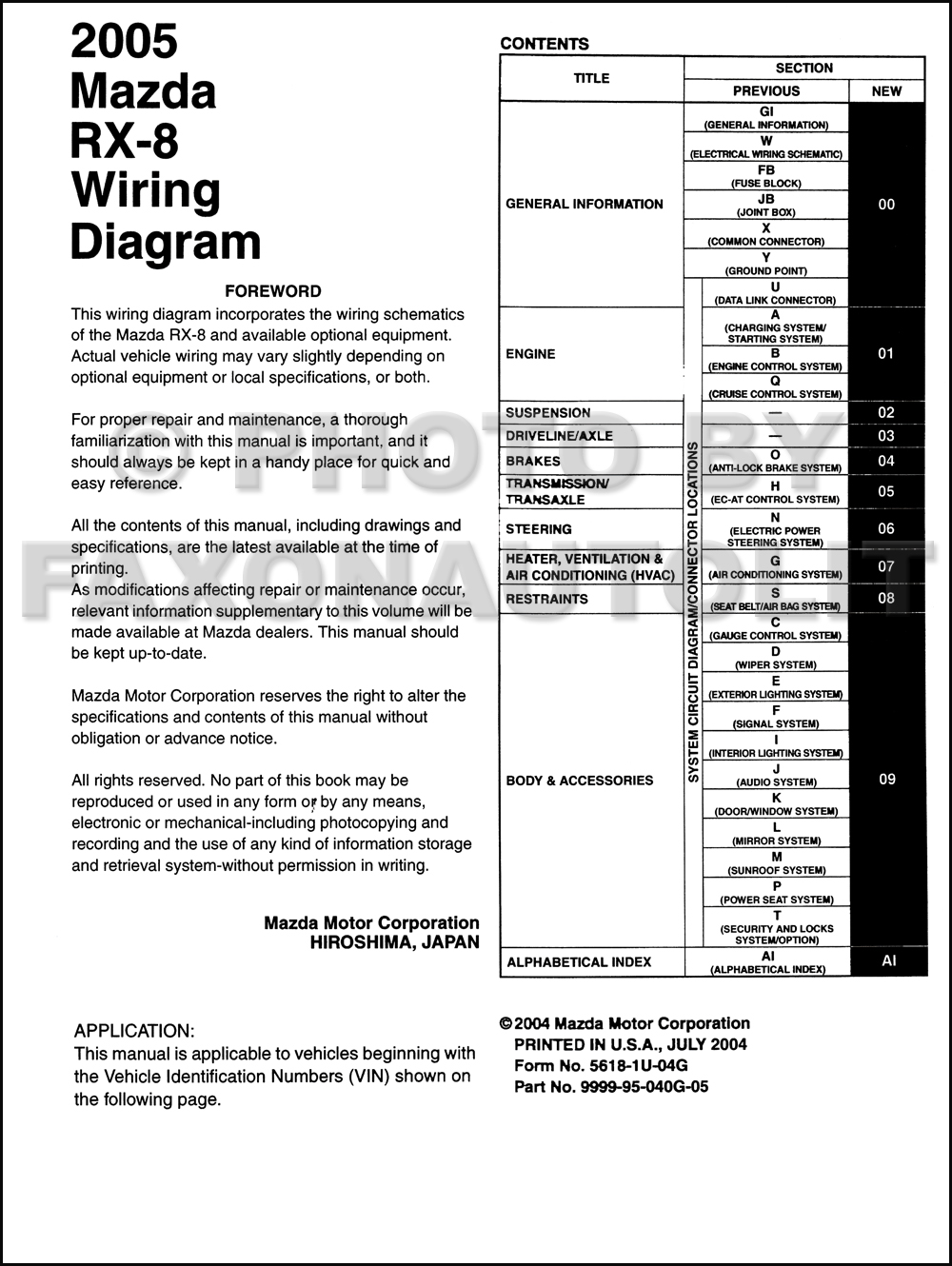 Mazda Rx8 Wiring Diagram Starting Know About Stereo 2005 Rx 8 Manual Original Rh Faxonautoliterature Com 2004
