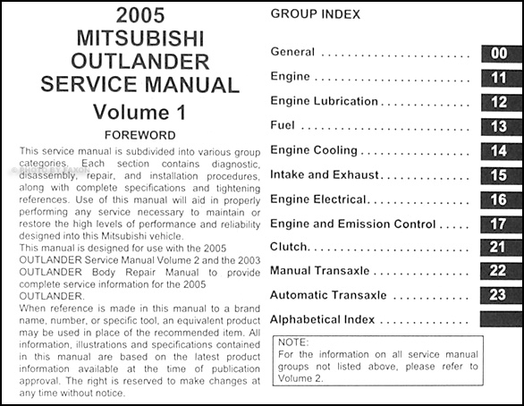 2005 Mitsubishi Outlander Repair Shop Manual Original