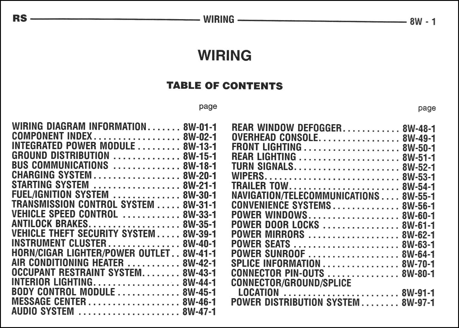 ... Dodge Caravan Wiring Diagram Manual Original · Table of Contents Page