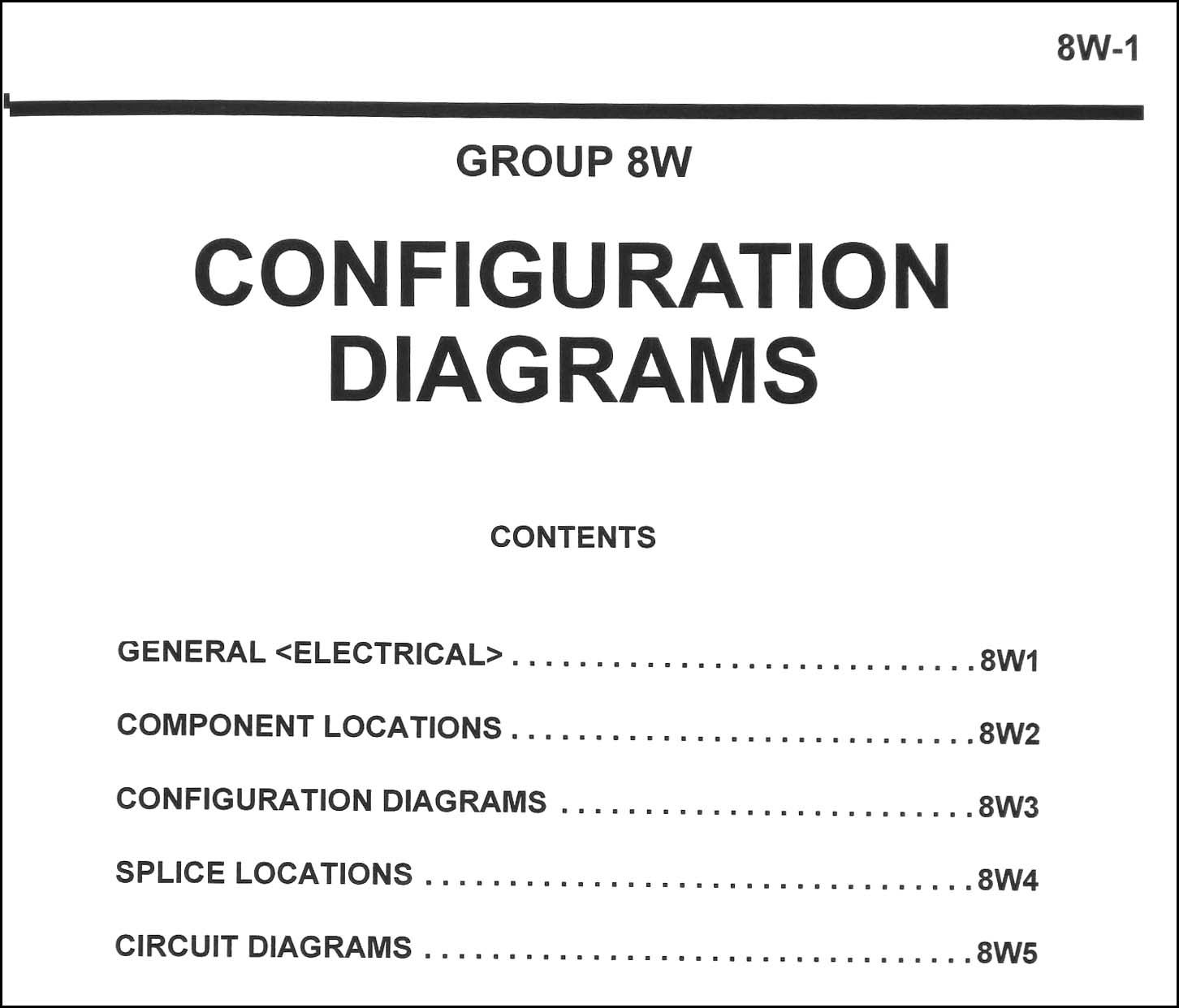 2005 Chrysler Sebring Dodge Stratus Coupe Wiring Diagram Manual Original Diagrams Table Of Contents Page