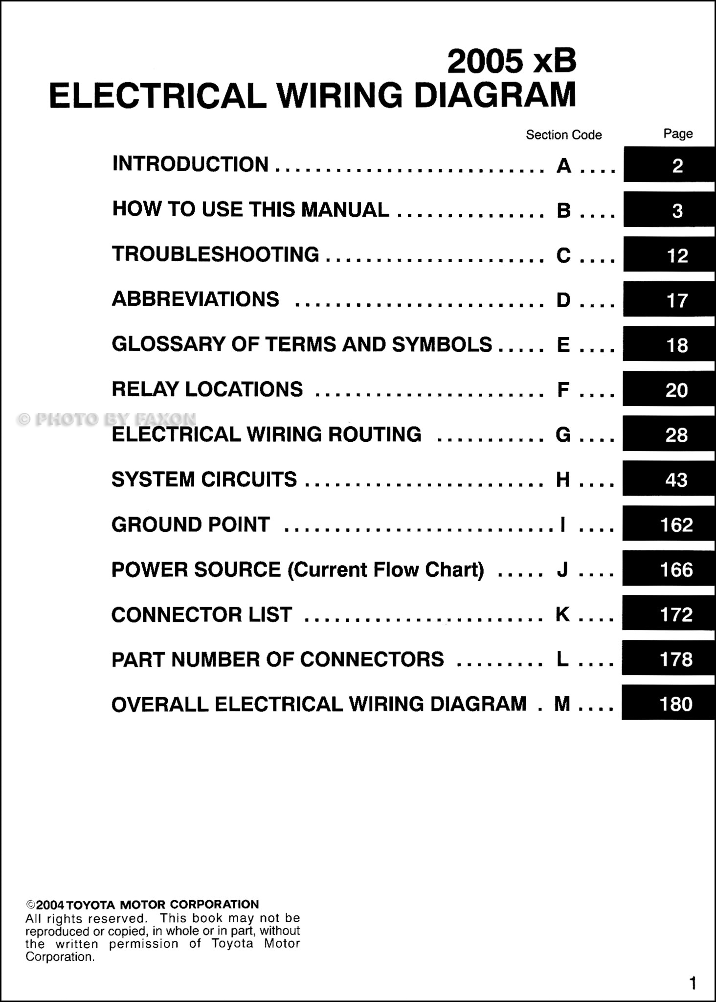 2005 Scion Xb Wiring Diagram Manual Original
