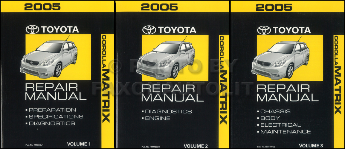 2005 Toyota Matrix Repair Shop Manual Original 3 Volume Set 28900: 05 Corolla Fog Light Wiring Diagram At Satuska.co