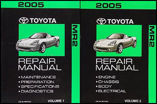 2005 Toyota MR2 Spyder Repair Manual Set Original