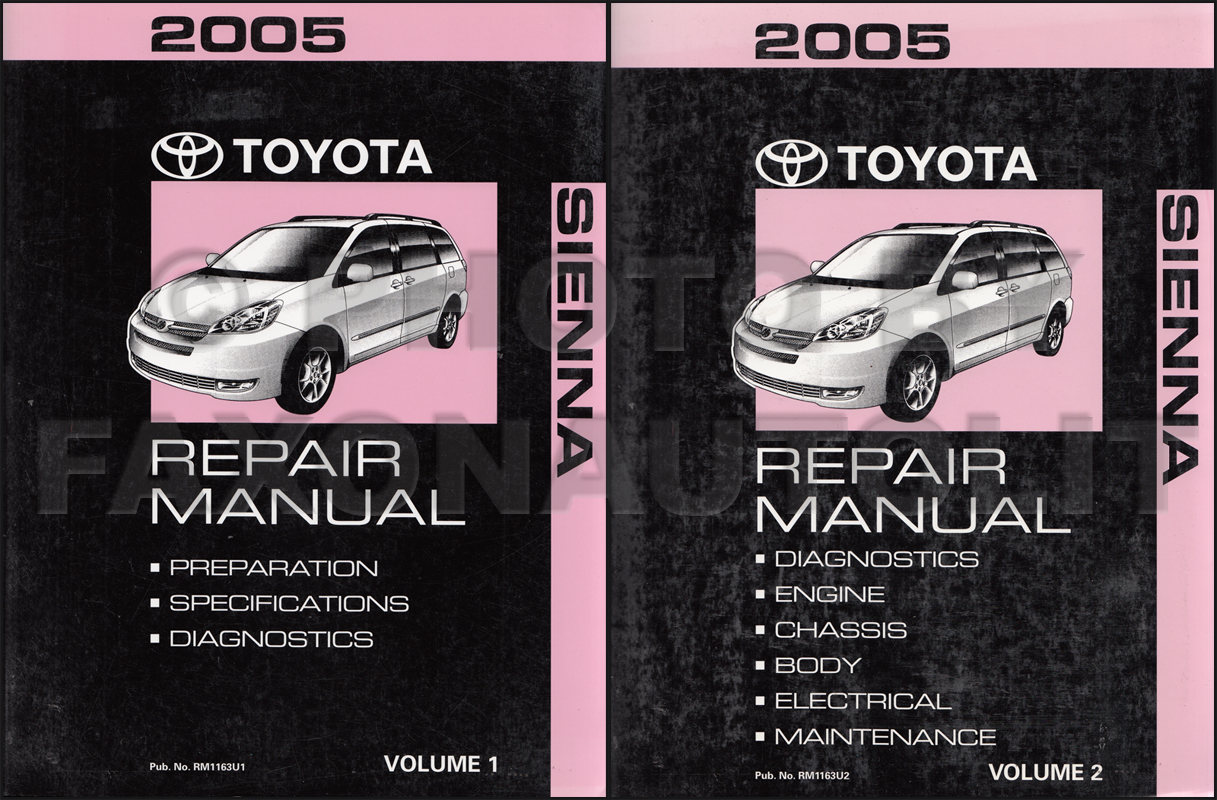2005 Toyota Sienna Repair Shop Manual Set Original