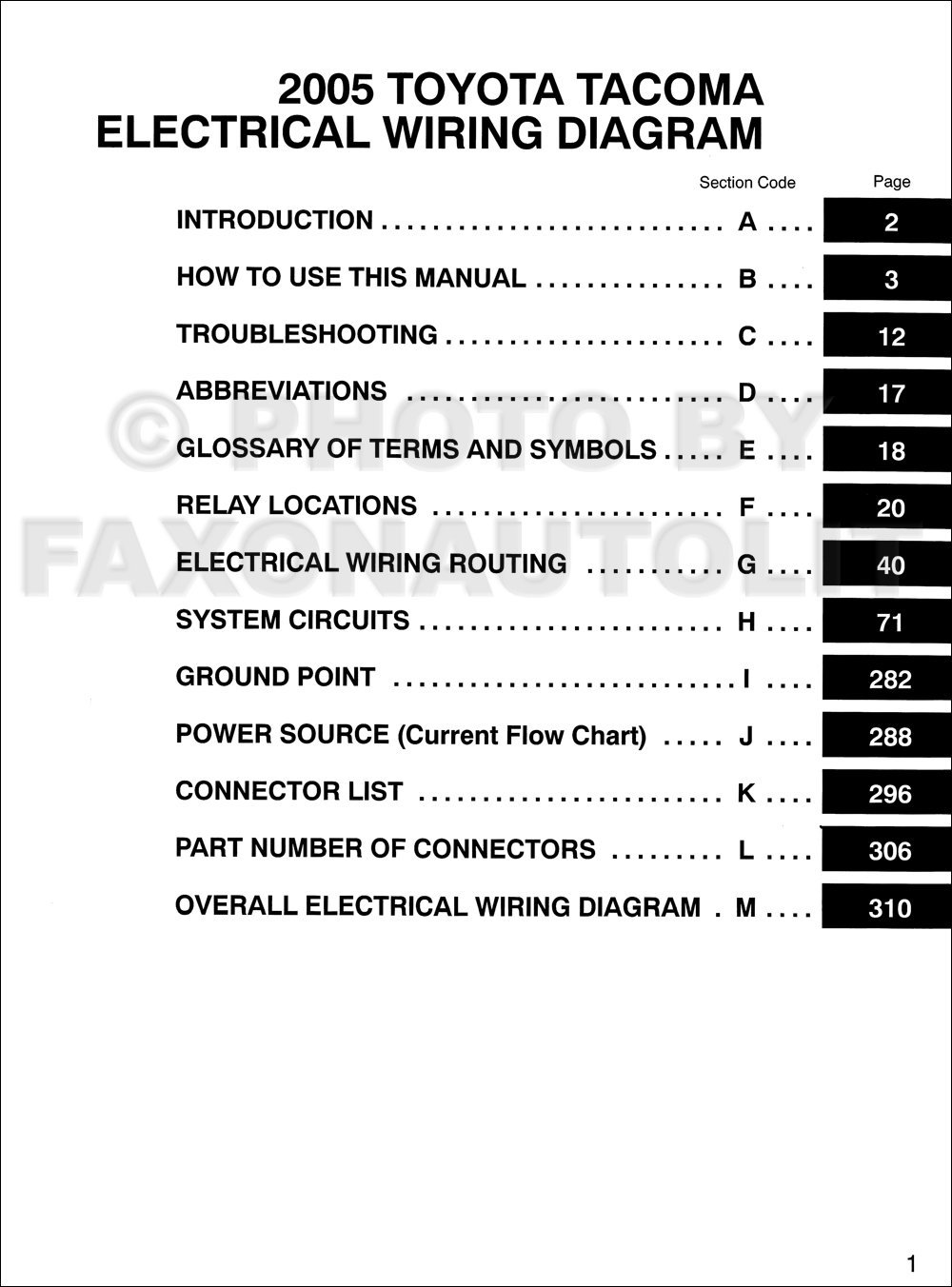 2005 Tacoma Wiring Diagram Starting Know About Speaker Toyota Pickup Manual Original Rh Faxonautoliterature Com Radio Trailer