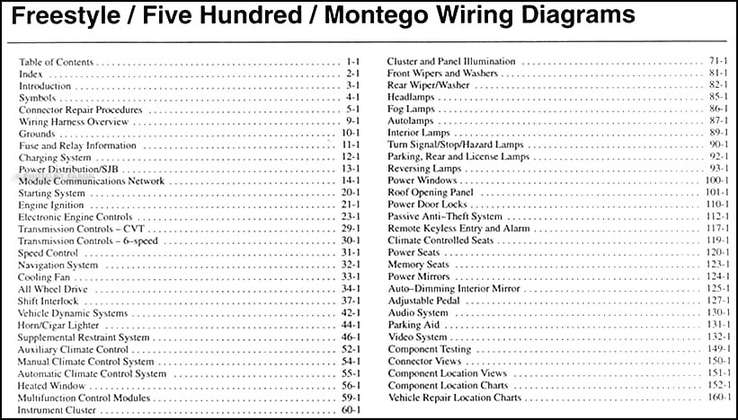 freestyle  montego wiring diagram manual original