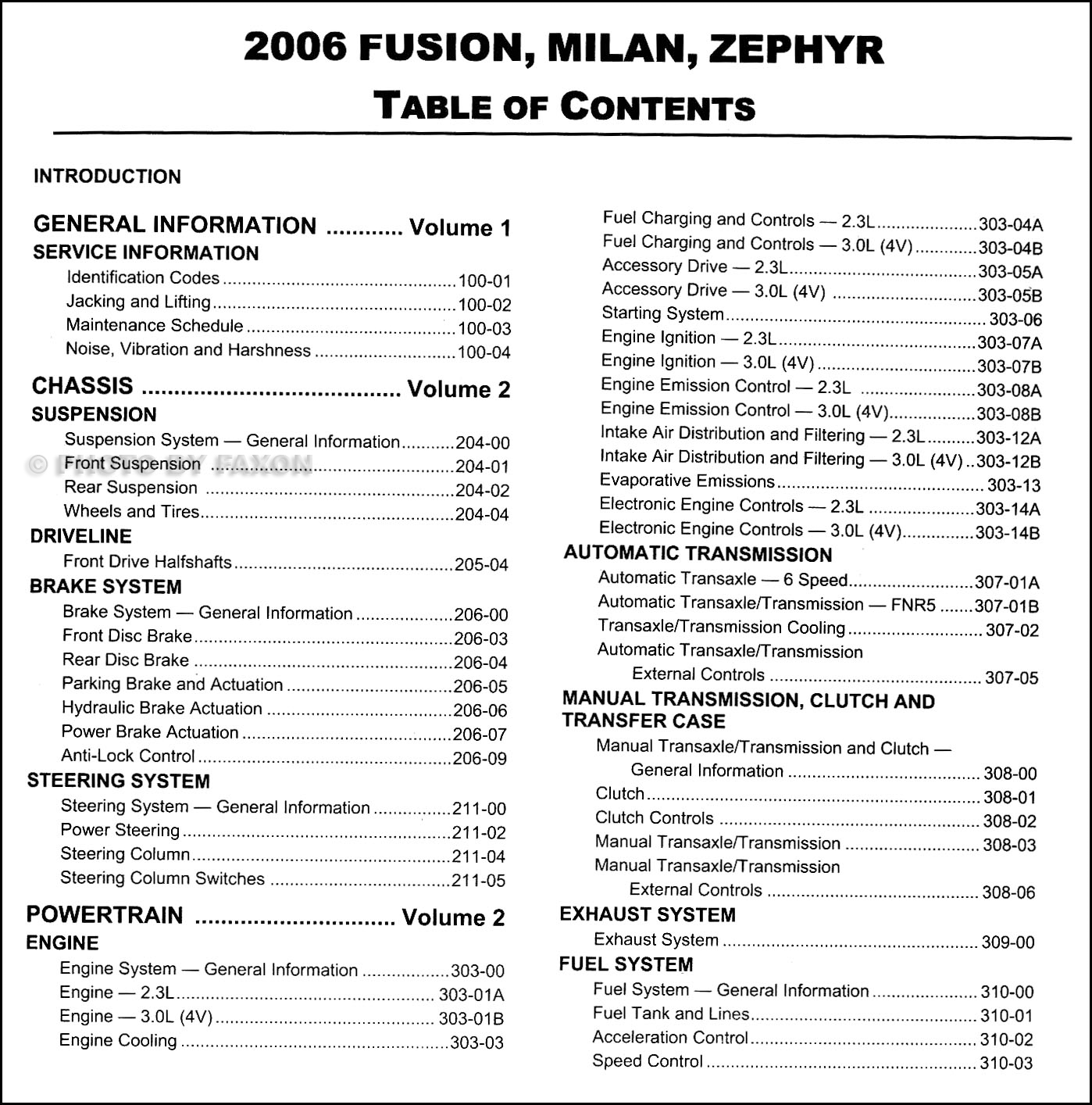 2006 Mercury Milan Fuse Box Diagram 2003 Lincoln Ford Fusion Zephyr Repair Shop Manual 2 Rh Faxonautoliterature Com 2007 Battery