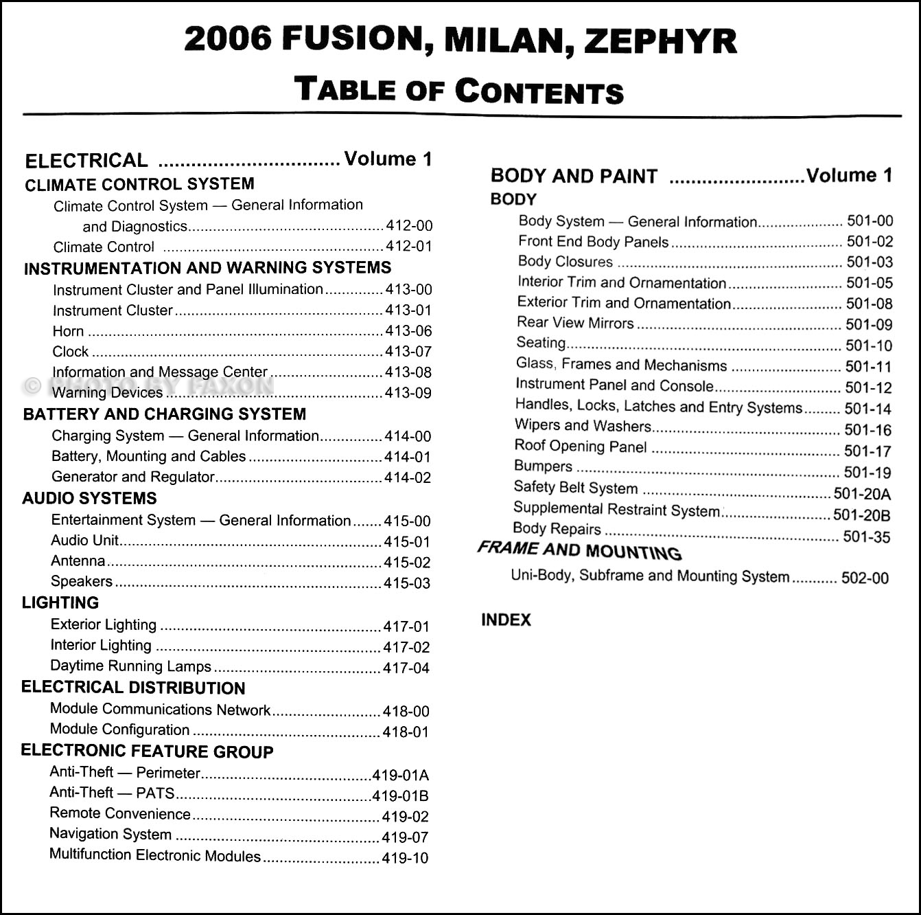 20112011 Mercury Milan Fuse Box Wiring Library 2007 Table Of Contents Page 2 2006 Ford Fusion
