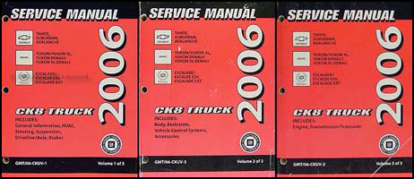 2006 CK SUV Repair Manual Set Avalanche Suburban Tahoe Denali XL Yukon Escalade ESV EXT