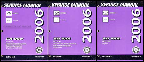 2006 Express and Savana Repair Shop Manual 3 Volume Set Original