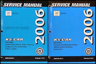 2006 Cadillac Deville and DTS Repair Manual Original 2 Volume Set