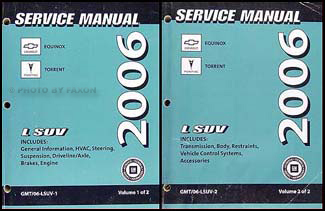 2006 Chevrolet Equinox Pontiac Torrent Repair Shop Manual Original set of 2