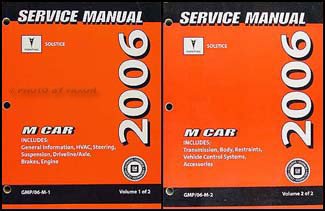 2006 Pontiac Solstice Repair Manual 2 Volume Set Original