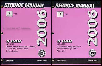 2006 Pontiac Vibe Repair Manual Original 2 Volume Set