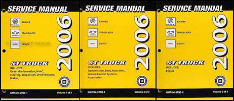 2006 Rainier Trailblazer Envoy Repair Manual Original 3 Volume Set
