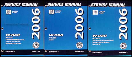 2006 Buick LaCrosse and Allure Repair Manual Original 3 Volume Set