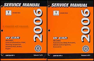2006 Pontiac Grand Prix Repair Manual Original 2 Volume Set