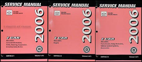 2006 Chevrolet Malibu Repair Manual Original 3 Volume Set
