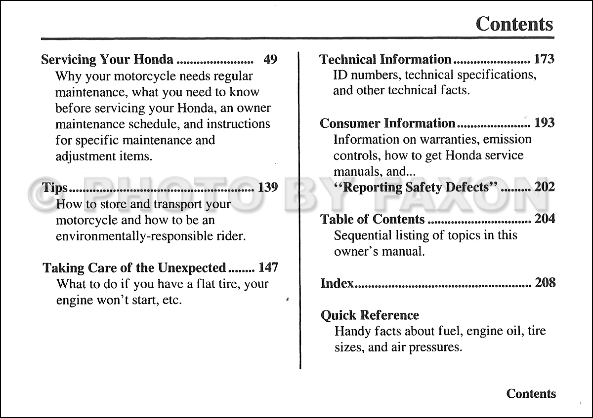 2006 Honda Shadow Sabre Motorcycle Owner's Manual Original VT1100C2. Table  of Contents Page 1. Table of Contents Page 2