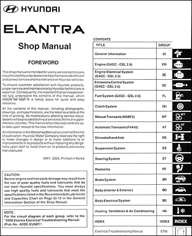 2006 Hyundai Elantra Repair Shop Manual Original