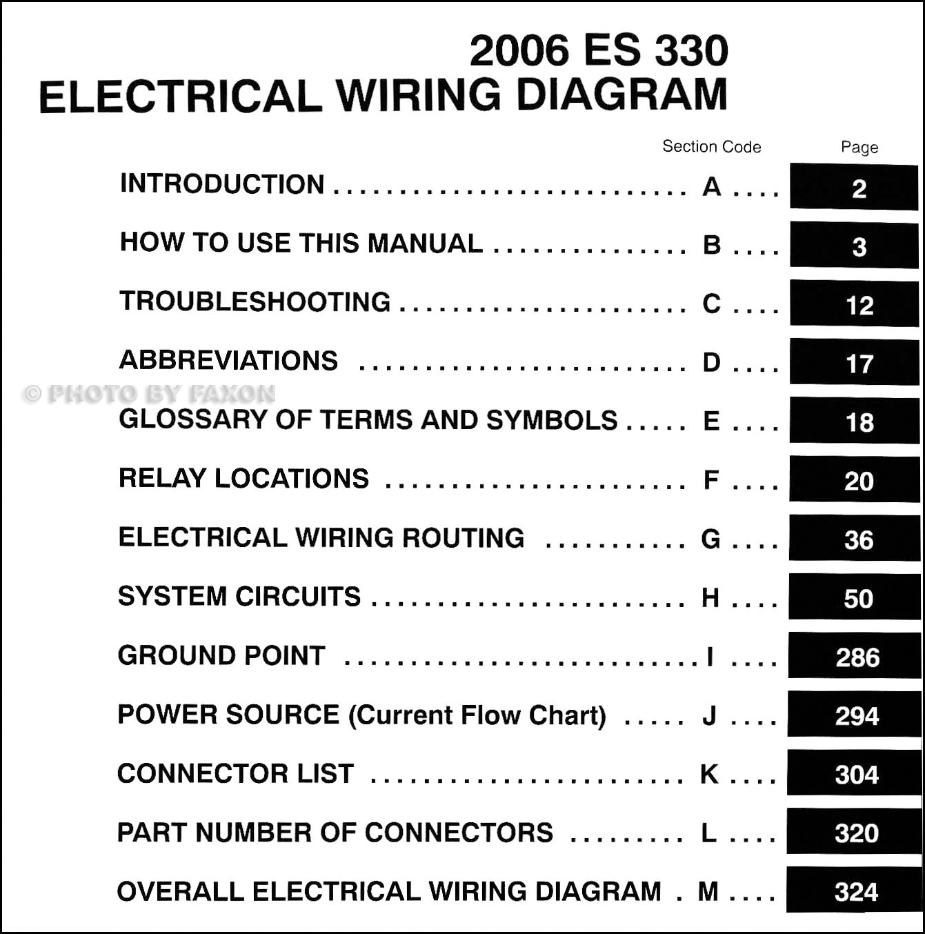 2006 Lexus ES 330 Wiring Diagram Manual Original · Table of Contents