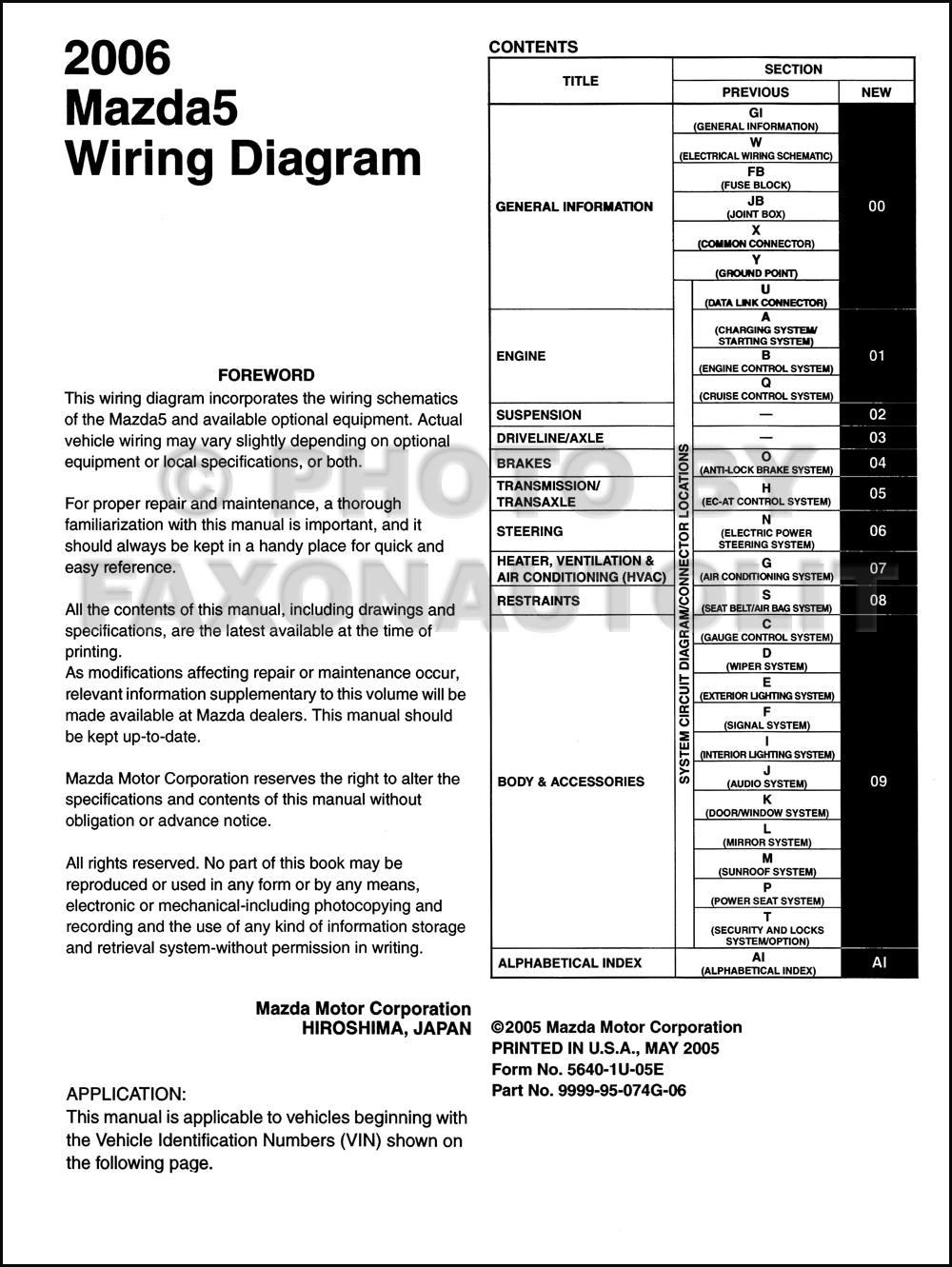 2006 Mazda 5 Wiring Diagram Manual Original. click on thumbnail to zoom