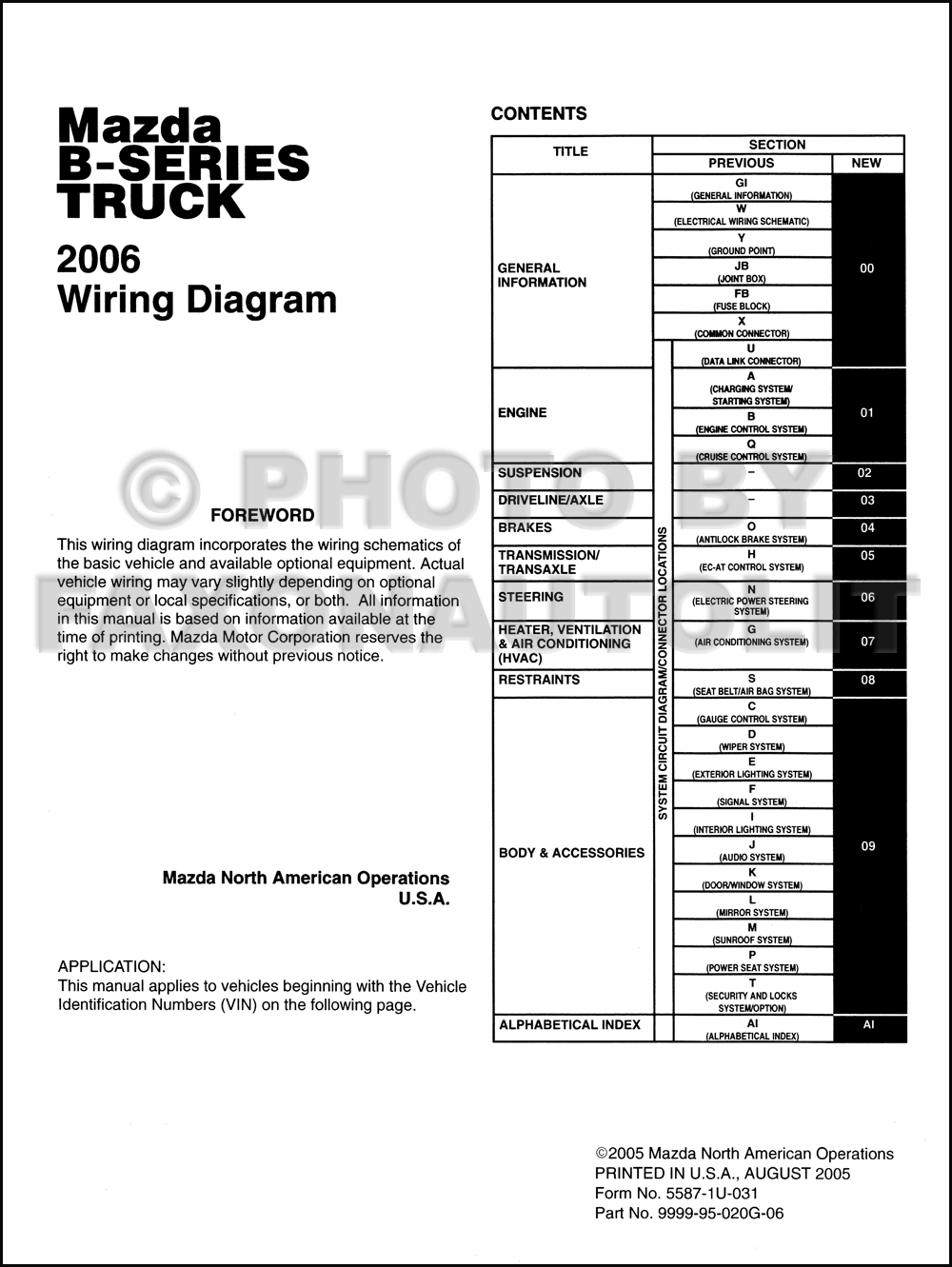 Mazda B3000 Wiring Diagram Diagrams 2001 2006 B Series Pickup Truck Manual Original Rh Faxonautoliterature Com B4000 Fuse Box
