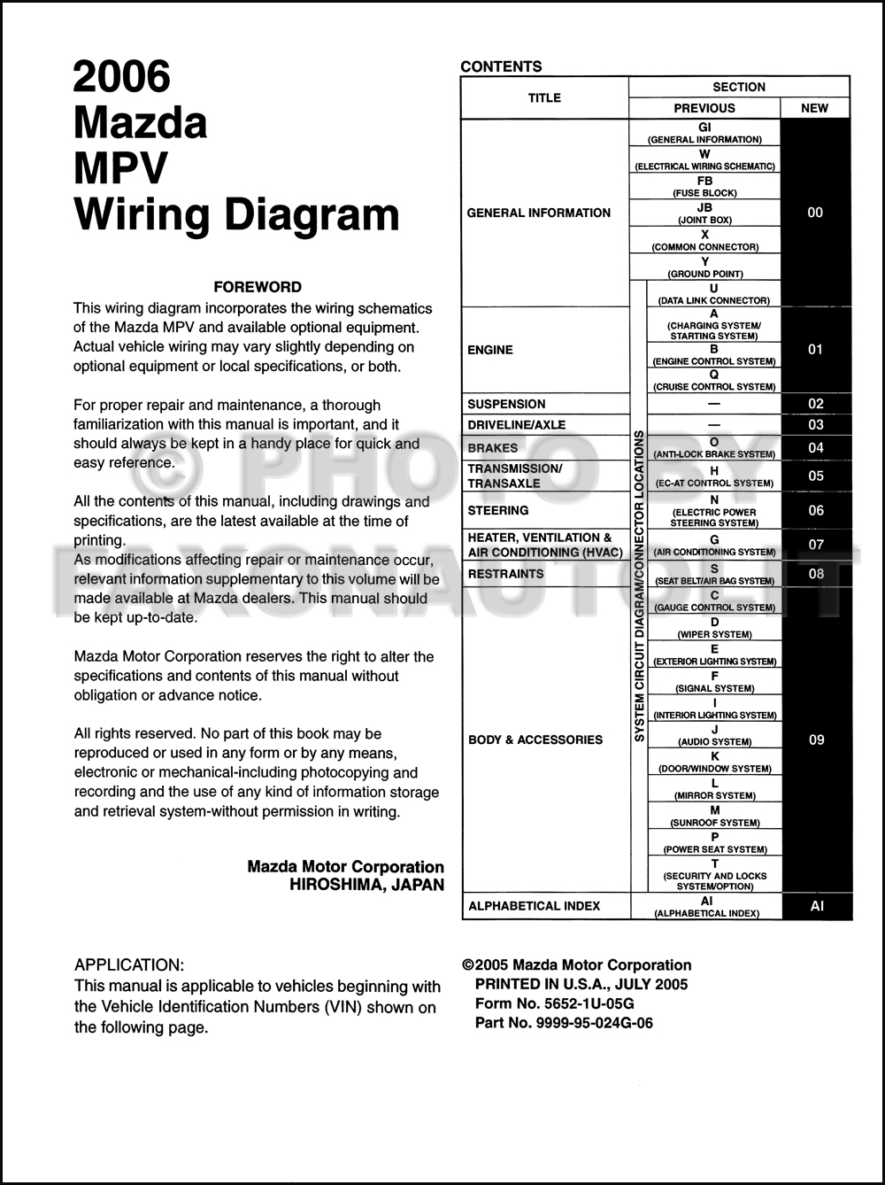 2000 Mazda Millenia Wiring Diagram Manual Original Schematic 2005 Tribute Mpv Rh Banyan Palace Com 3