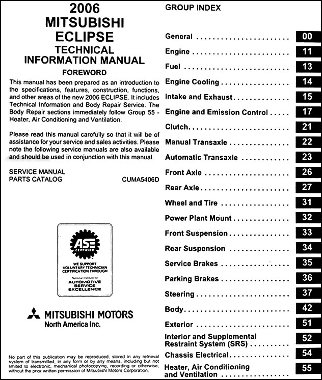 2006 mitsubishi eclipse manual