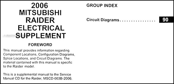 2006 Mitsubishi Raider Wiring Diagram Manual Original