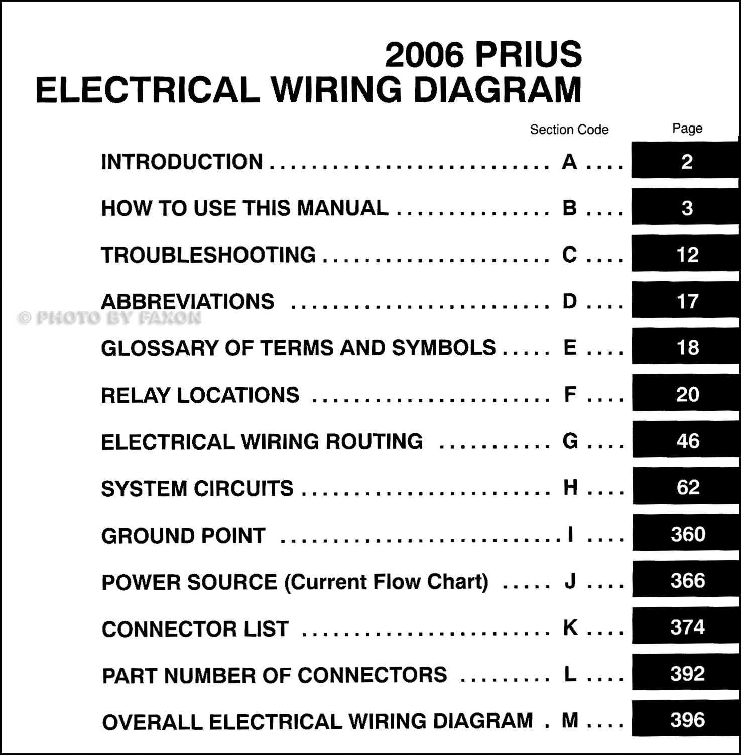 Toyota Prius Wiring Diagrams Another Blog About Diagram Trailer Harness 2001 Tundra 2006 Manual Original Rh Faxonautoliterature Com 2005 2015
