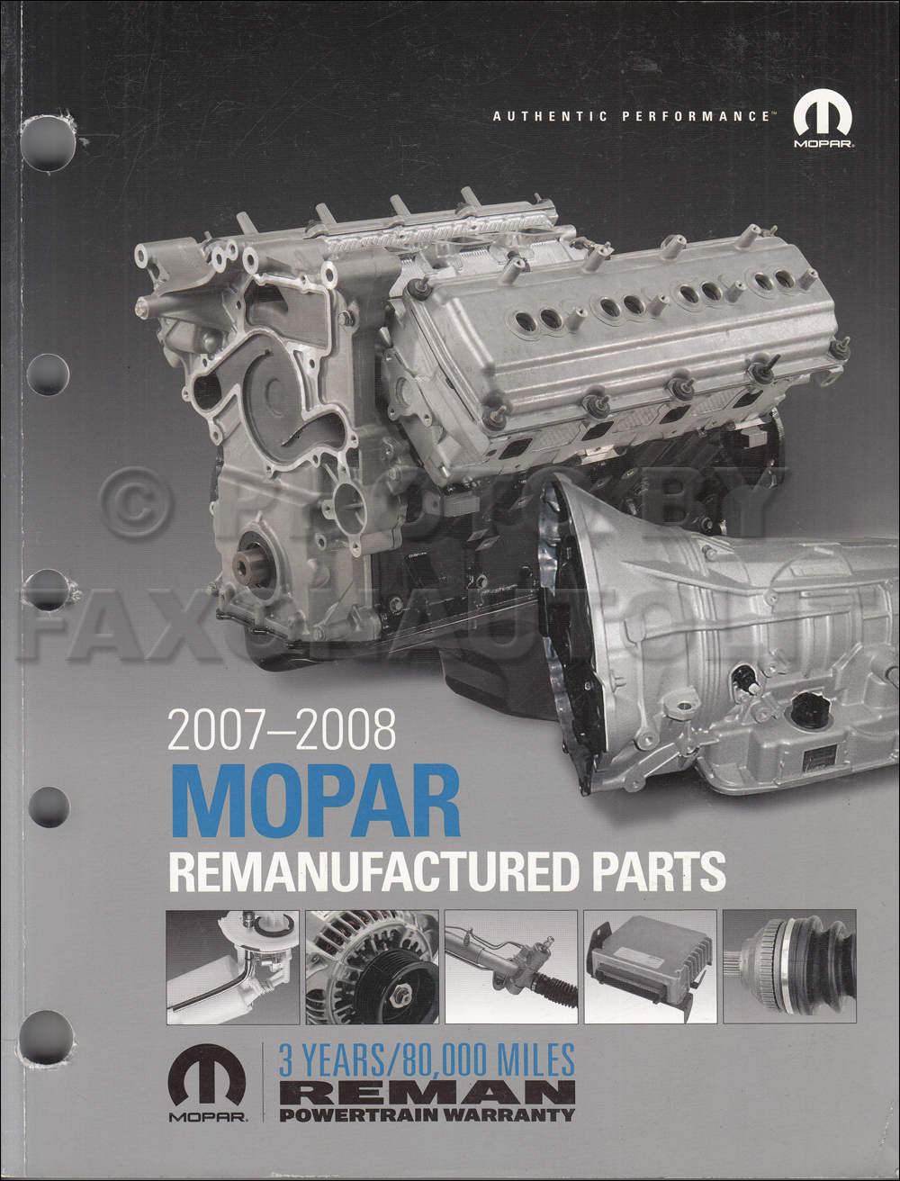 2007-2008 MoPar Remanufactured Parts Book Original
