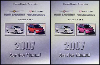 2007 Chrysler Town & Country Dodge Caravan Repair Shop Manual Original Set