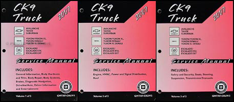 2007 CK SUV Repair Shop Manual Set Avalanche Suburban Tahoe Denali XL Yukon Escalade ESV EXT