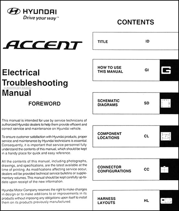 2007 hyundai accent electrical troubleshooting manual original Kia Forte Wiring Diagram