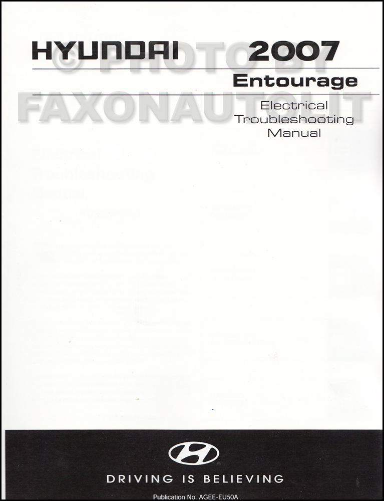 2007 Hyundai Entourage Electrical Troubleshooting Manual Factory Reprint