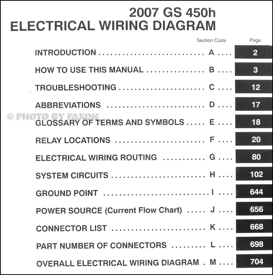 2007 Lexus GS 450H Wiring Diagram Manual Original · Table of Contents