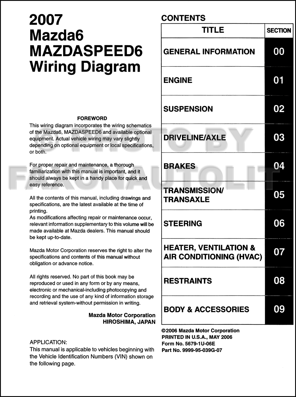 2007 Mazda6 And Mazdaspeed6 Original Wiring Diagram 2009 Mazda 3 Accessory Click On Thumbnail To Zoom