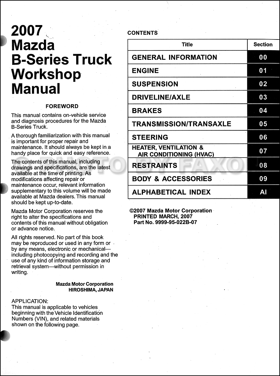 2007 Mazda B-Series Truck Repair Shop Manual Original B2300 B3000 B4000  Pickup · Table of Contents