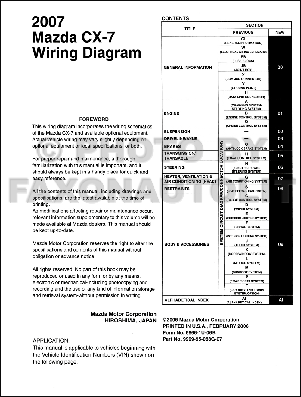 2007 Mazda Cx 7 Wiring Diagram Manual Original Wire For