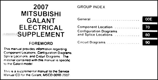 2007 mitsubishi galant wiring diagram manual original � table of contents